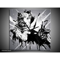 Wandklok op Canvas Dieren | Kleur: Zwart, Wit, Grijs | F003496C