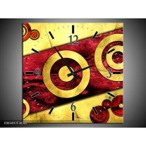 Wandklok op Canvas Abstract | Kleur: Rood, Geel, Zwart | F003497C