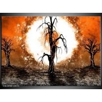 Glas schilderij Abstract | Oranje, Bruin, Wit