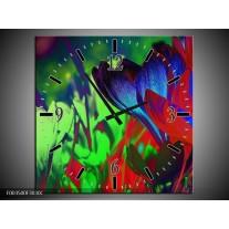 Wandklok op Canvas Krokus | Kleur: Blauw, Groen, Rood | F003500C