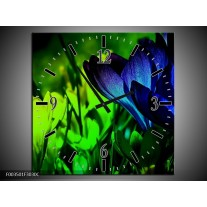 Wandklok op Canvas Krokus | Kleur: Groen, Blauw, Zwart | F003501C
