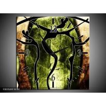 Wandklok op Canvas Abstract | Kleur: Groen, Bruin, Zwart | F003504C