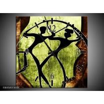 Wandklok op Canvas Abstract | Kleur: Groen, Bruin, Zwart | F003505C