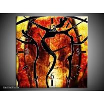 Wandklok op Canvas Abstract | Kleur: Oranje, Rood, Zwart | F003506C