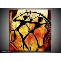 Wandklok op Canvas Abstract | Kleur: Oranje, Rood, Zwart | F003507C