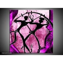 Wandklok op Canvas Abstract | Kleur: Roze, Paars, Zwart | F003509C