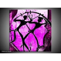 Wandklok op Canvas Abstract | Kleur: Roze, Paars, Zwart | F003511C