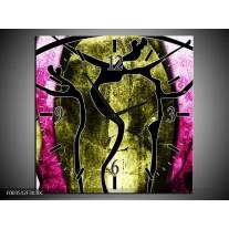 Wandklok op Canvas Abstract | Kleur: Roze, Zwart, Groen | F003512C