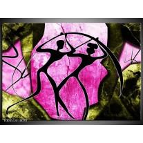 Glas schilderij Abstract | Roze, Zwart, Groen