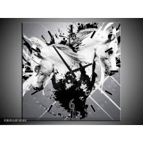 Wandklok op Canvas Abstract | Kleur: Wit, Zwart, Grijs | F003514C