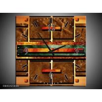Wandklok op Canvas Abstract | Kleur: Bruin, Oranje, Geel | F003515C