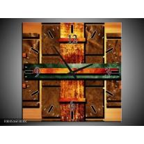 Wandklok op Canvas Abstract | Kleur: Bruin, Oranje, Geel | F003516C