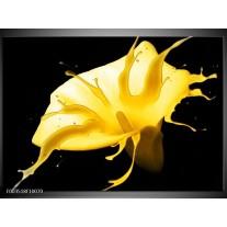 Foto canvas schilderij Bloem | Geel, Zwart