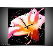 Wandklok op Canvas Bloem | Kleur: Roze, Geel, Oranje | F003519C