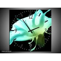 Wandklok op Canvas Bloem | Kleur: Blauw, Groen, Zwart | F003520C