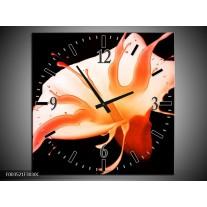 Wandklok op Canvas Bloem | Kleur: Oranje, Zwart | F003521C