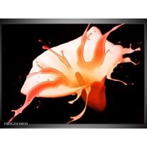 Glas schilderij Bloem   Oranje, Zwart