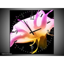 Wandklok op Canvas Bloem   Kleur: Roze, Geel, Zwart   F003523C