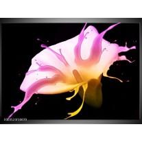 Glas schilderij Bloem   Roze, Geel, Zwart