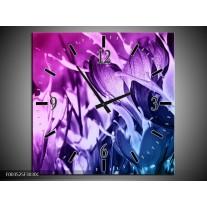 Wandklok op Canvas Bloem | Kleur: Paars, Blauw | F003525C