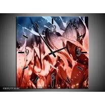 Wandklok op Canvas Bloem | Kleur: Rood, Blauw, Zwart | F003527C