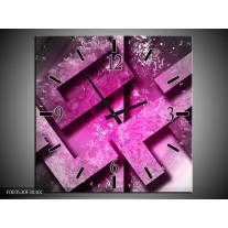 Wandklok op Canvas Abstract | Kleur: Roze, Grijs, Wit | F003530C