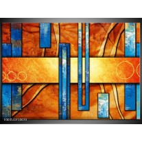 Foto canvas schilderij Abstract   Blauw, Geel, Oranje