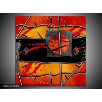 Wandklok op Canvas Abstract | Kleur: Rood, Grijs, Oranje | F003533C