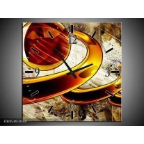 Wandklok op Canvas Abstract | Kleur: Geel, Bruin, Wit | F003534C