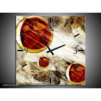 Wandklok op Canvas Abstract | Kleur: Geel, Bruin, Wit | F003535C