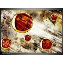 Glas schilderij Abstract | Geel, Bruin, Wit