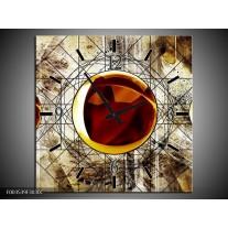 Wandklok op Canvas Abstract | Kleur: Geel, Bruin, Wit | F003539C