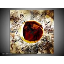 Wandklok op Canvas Abstract | Kleur: Geel, Bruin, Wit | F003540C