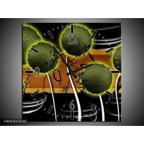 Wandklok op Canvas Bloem | Kleur: Groen, Bruin, Zwart | F003545C