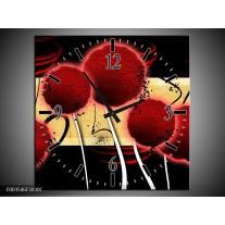 Wandklok op Canvas Bloem | Kleur: Rood, Geel, Zwart | F003546C