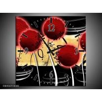 Wandklok op Canvas Bloem | Kleur: Rood, Geel, Zwart | F003547C
