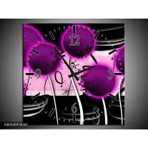 Wandklok op Canvas Bloem | Kleur: Paars, Zwart, Wit | F003549C