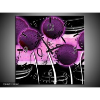 Wandklok op Canvas Bloem | Kleur: Paars, Zwart, Wit | F003551C