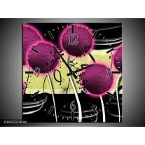 Wandklok op Canvas Bloem | Kleur: Roze, Geel, Wit | F003553C