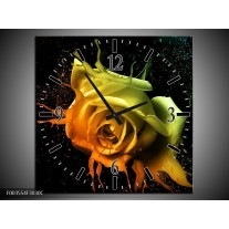 Wandklok op Canvas Roos | Kleur: Oranje, Geel, Groen | F003554C