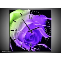 Wandklok op Canvas Roos | Kleur: Paars, Groen, Zwart | F003555C