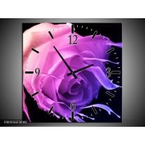 Wandklok op Canvas Roos | Kleur: Paars, Roze, Zwart | F003556C