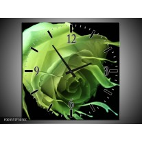 Wandklok op Canvas Roos | Kleur: Groen, Zwart, | F003557C