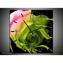 Wandklok op Canvas Roos | Kleur: Roze, Groen, Zwart | F003559C