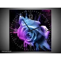 Wandklok op Canvas Roos | Kleur: Paars, Blauw, Zwart | F003560C