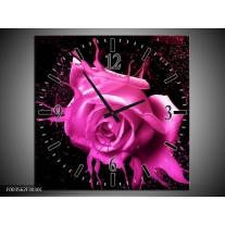 Wandklok op Canvas Roos | Kleur: Roze, Zwart | F003562C