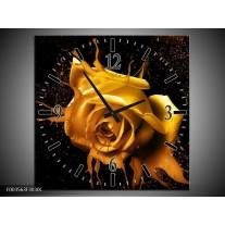 Wandklok op Canvas Roos | Kleur: Geel, Zwart | F003563C