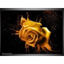 Glas schilderij Roos | Geel, Zwart