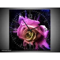 Wandklok op Canvas Roos | Kleur: Paars, Roze, Zwart | F003564C