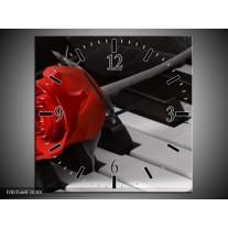 Wandklok op Canvas Roos | Kleur: Rood, Wit, Zwart | F003568C